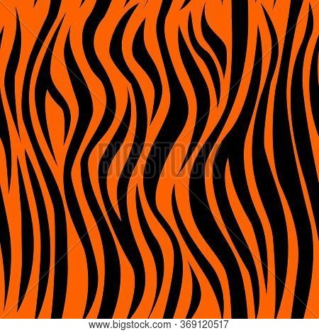 Tiger Skin Seamless Pattern. Exotic Tiger Skin