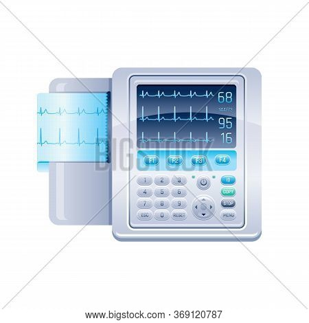 Ecg Monitor Icon. Heartbeat Machine, Medical Health Care Equipment. Vector Electrocardiogram Display