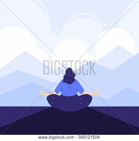 Yoga Girl In The Front Of Mountains Background. Outdoor Meditation Concept. Lotus Pose - Padmasana.
