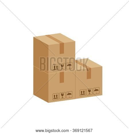 Pile Crate Boxes 3d Cube, Three Cardboard Box For Factory Warehouse Storage, Cardboard Parcel Boxes
