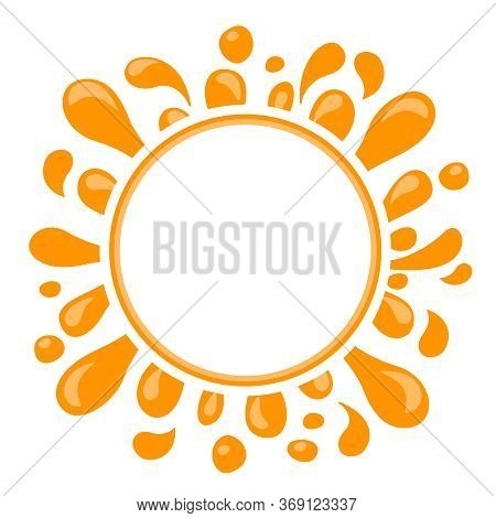 Orange Water Drop Juice Splash, Blob Orange And White Circle For Copy Space, Orange Juice Drop Splat
