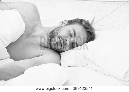 Circadian Rhythm Regulates Sleep Wake Cycle. Man Handsome Unshaven Guy In Bed. Enough Amount Sleep E