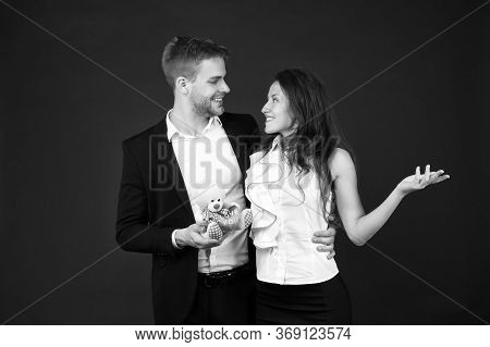 Cheerful Couple. Man And Woman Corporate Attire Fashion. Couple In Love Celebrate Valentines Day. Lo