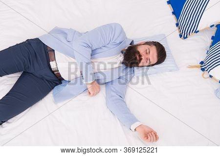Single To Mingle. Single Man Sleep In Formalwear. Bearded Man Lying In Bed Alone. Wedding Guest. Bac