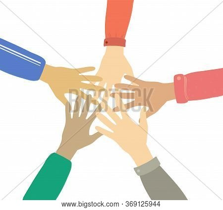 Teamwork And Friendship Hands Together Concept Vector Illustration. Multinational Concept Of Team, V