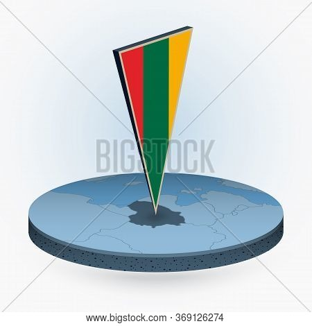 Lithuania Map In Round Isometric Style With Triangular 3d Flag Of Lithuania, Vector Map In Blue Colo