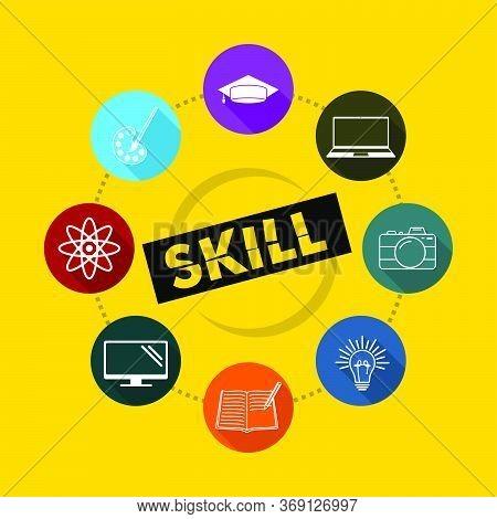 Set Object Of Skill Icon Vector Illustration. Good Template For Icon Design, Skill Design, Etc.