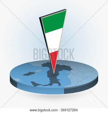 Italy Map In Round Isometric Style With Triangular 3d Flag Of Italy, Vector Map In Blue Color.