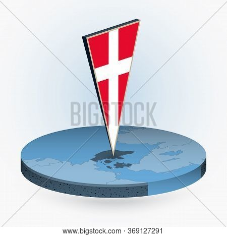 Denmark Map In Round Isometric Style With Triangular 3d Flag Of Denmark, Vector Map In Blue Color.