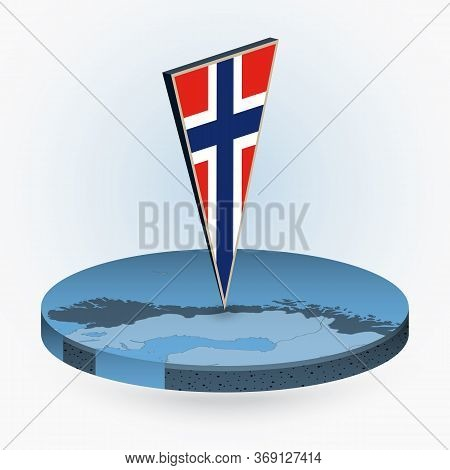 Norway Map In Round Isometric Style With Triangular 3d Flag Of Norway, Vector Map In Blue Color.