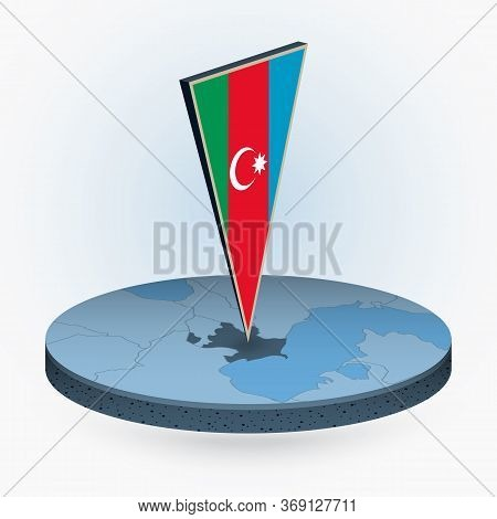 Azerbaijan Map In Round Isometric Style With Triangular 3d Flag Of Azerbaijan, Vector Map In Blue Co