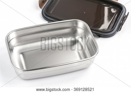 Isolated Stainless Steel Food Container On White Background.