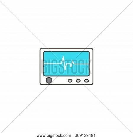 Electrocardiogram, Ecg Or Ekg - Medical Vector Icons. Heart Rhythm. Ecg Machine Icon. Ecg Machine On