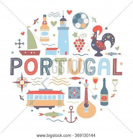 Set Of Portuguese Elements. Fado Guitar, Tram, Tiles Azulejo, Port Wine, Sardines, Lighthouse, Ship,