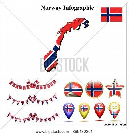 Bright Map Of Norway. Map Of Norway Graphic Illustration On White Background. Set Illustration With
