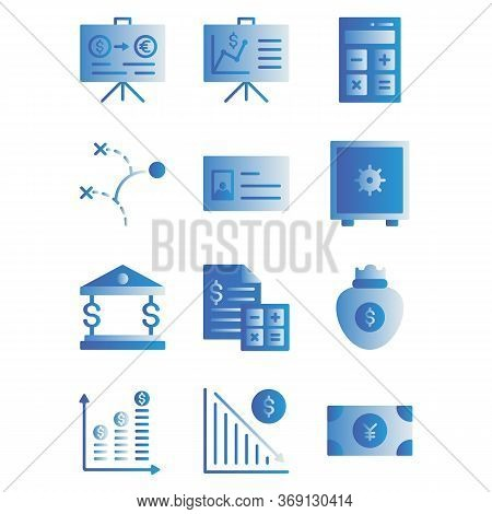 Office Business Icon Set Include ,presentation,graph,graph.calculator, Calculation,finance,plan,stra