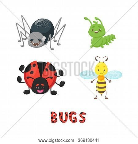 Bug Or Insect Set. Spider, Caterpillar Or Worm, Ladybird, Bee Or Wasp, Dotted Letters. Cute Vector M