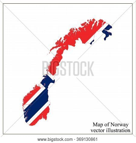 Map Of Norway With Flag. Norwegian Infographic. Vector.