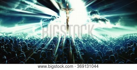 Illustration With Cross Of Christ And People Believers.christian Religion And Jesus.god Concept