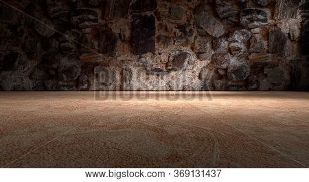 3d Illustration Abstract Background City Lifestyle.rock Wall And Cement Floor Background.spotlight.b