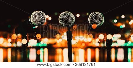 Live Music And Conference Background.karaoke And Entertainment Concept.microphone And Stage Lights.c