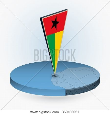 Guinea-bissau Map In Round Isometric Style With Triangular 3d Flag Of Guinea-bissau, Vector Map In B