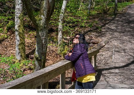Asian Woman In Her 50s Enjoys Outing In A National Park In Scania, Southern Sweden