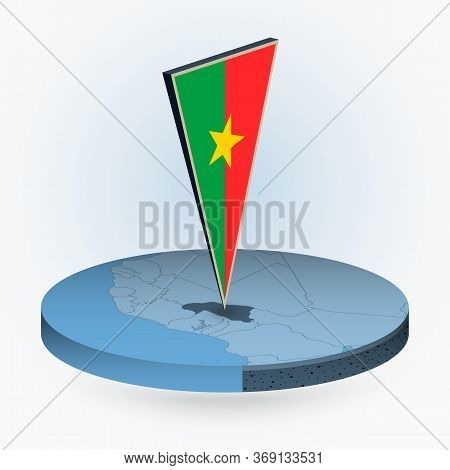 Burkina Faso Map In Round Isometric Style With Triangular 3d Flag Of Burkina Faso, Vector Map In Blu