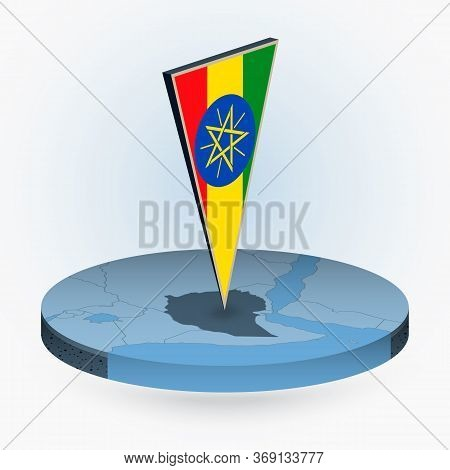 Ethiopia Map In Round Isometric Style With Triangular 3d Flag Of Ethiopia, Vector Map In Blue Color.