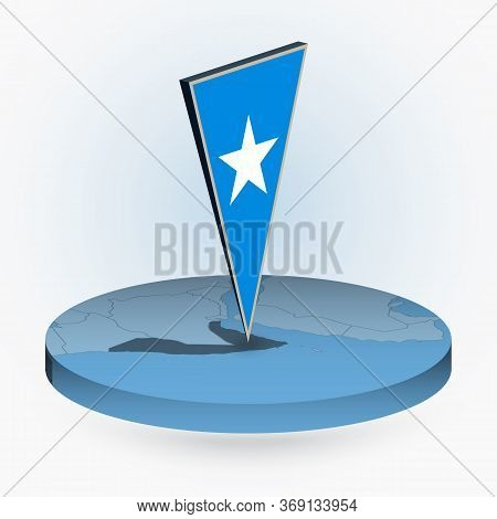 Somalia Map In Round Isometric Style With Triangular 3d Flag Of Somalia, Vector Map In Blue Color.