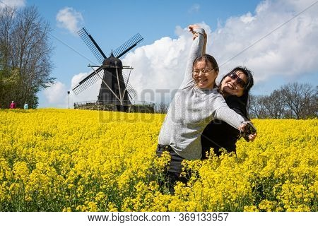 An Asian Mother In Her 50s And Her Daughter 11 Years Old Enjoy Outing Together In A Yellow Rapeseed