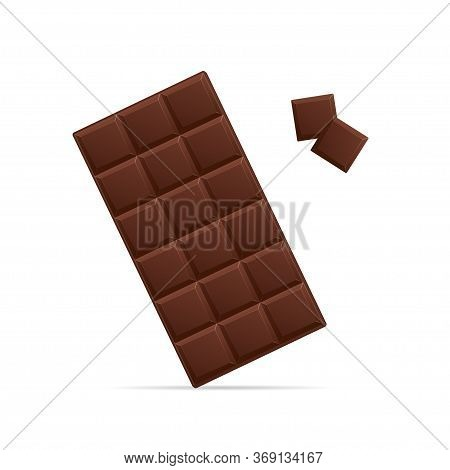 Realistic Detailed 3d Chocolate Bar And Pieces Unwrapped Sweet Dessert Snack. Vector Illustration Of