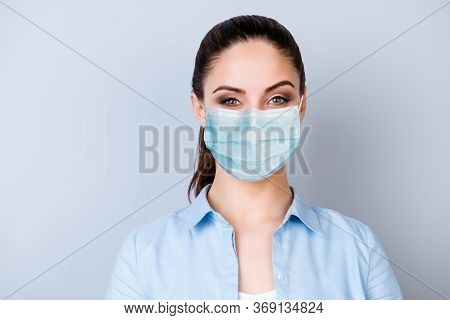 Close-up Portrait Of Her She Nice Attractive Lovely Content Brown-haired Girl Wearing Medicine Gauze
