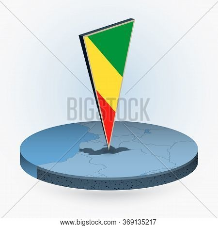 Congo Map In Round Isometric Style With Triangular 3d Flag Of Congo, Vector Map In Blue Color.