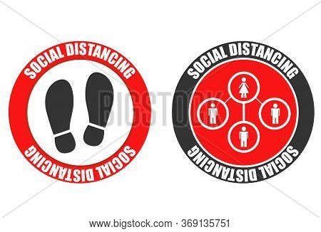 Footprint Sign Set With Text Social Distancing. Social Distancing For Print Floor. Coronavirus Outbr