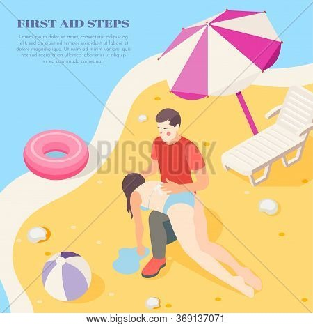 Reviving Drowning Victim On Beach Using First Aid Steps Treatment Info Isometric Background Composit