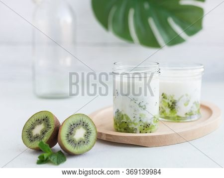 Space With Smoothie From Kiwi And Milk And Mint. Horizontal Place For Text And Recipe. Concept Of He