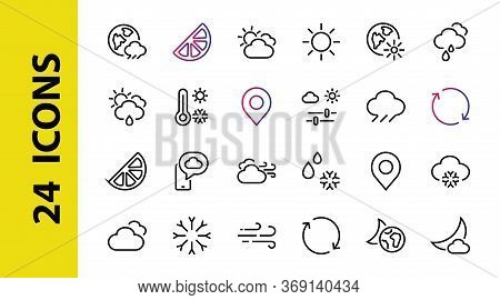 Weather Set Of Icons, Icons Such As Weather Forecast And Clouds, Wind, Rain, Snow, Weather Settings