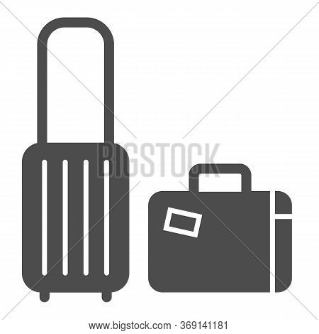 Travel Suitcases Solid Icon, Luggage Concept, Traveling Suitcase Sign On White Background, Set Of Tr
