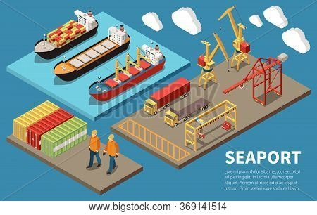 Cargo Seaport Container Ships Loading Unloading Cranes Bulk Carrier Freight Trucks Deck Workers 3 Is