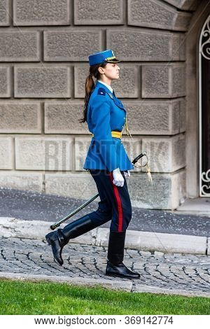 Female Member Of Serbian Guard Of Honor At The Presidential Palace In Belgrade