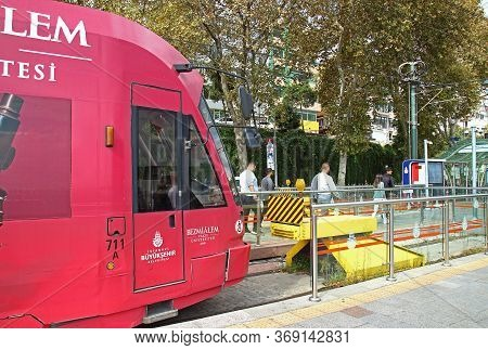 Istanbul, Turkey - October 6, 2019: Modern City Tram At The Terminus Stop Kabatas At Istanbul, Turke