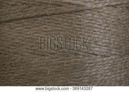 Skein Of Coarse Brown Twine, Closeup. Background Texture. Environmental Materials, Recycling, Packag