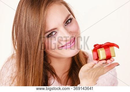 Occasions Gifts People Concept. Christmas Xmas Winter Season. Lovely Woman With Golden Box Gift With