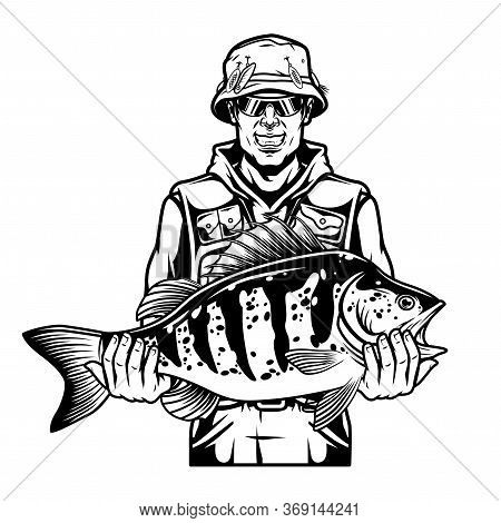 Vintage Fishing Concept With Happy Angler In Panama Hat And Sunglasses Holding Caught Perch In Monoc