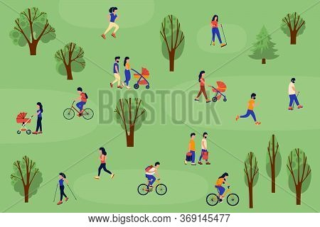 Illustration Of People Walking In The Forest. Group Of People Goes Nordic Walking, Walks With A Chil
