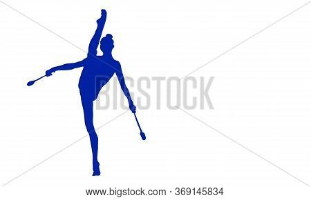 Silhouette Of A Gymnast In A Twine That Stands On One Leg With A Mace Item
