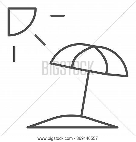 Summer Beach With Umbrella And Sun Thin Line Icon, Summer Concept, Beach Parasol Sign On White Backg