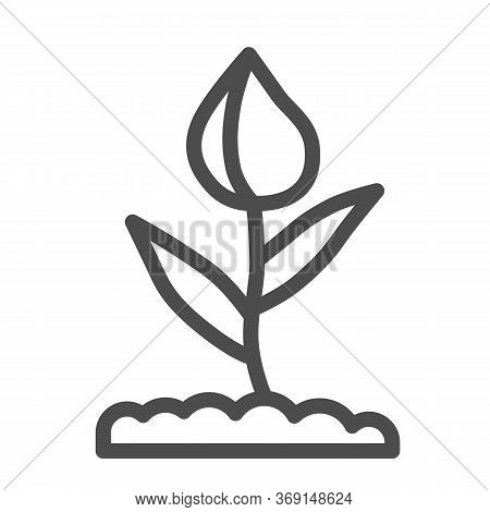 Flower Bud Line Icon, Floral Concept, Closed Tulip Bud With Leaves Sign On White Background, Spring