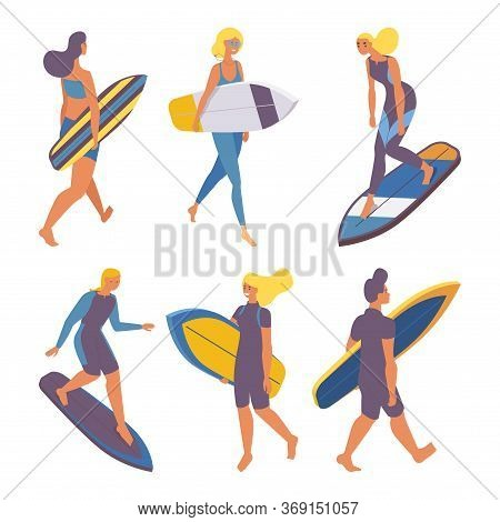 Vector Isometric Collection With Walking People Holding With Surfboards And Training On Surf 3d Surf